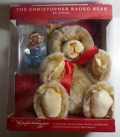 "Steiff 15"" Plush Teddy Bear w/Christopher Radko Ornament"