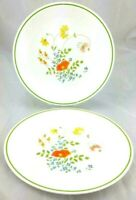 2 Corelle WILDFLOWER Plates 8 1/2 in Tiny Flower Lime Green Line Vtg Cottagecore