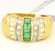 Vintage 18k Yellow Gold 1.34tcw Emerald W/ Diamonds Dome Band Ring Size 6