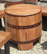 "Solid Oak Wooden Recycled Whisky Barrel ""DUNDEE"" Garden Table Vintage"