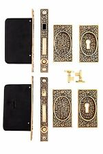 Rice pattern double pocket door lock set BEST OFFER