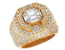 Men's Yellow Gold Genuine Diamond 3D Asscher Cut Solitaire Statement Ring 7.5 CT