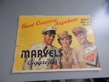 "Marvel's Cigarette Cardboard Advertising Sign 22"" x 16"" GIs / Military"