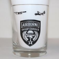 Army Airborne Trooper Carrier Clear Black Print Tumbler Drinking Glass Lot Of 2