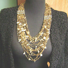 """BRASS TONE """"RAJASTHANI"""" TRIBAL INDIAN AMBER BEADED SHELL 24 STRAND  NECKLACE!!"""