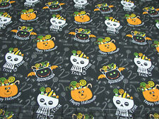 3 Yards Quilt Cotton Fabric - AE Nathan Halloween Skulls Pumpkins Candy Bowls Bk