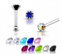 1 22g 6mm Silver Tiny Clear CZ GEM Nose Stud Pin N091