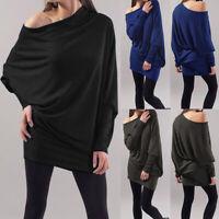 ZANZEA Women One Shoulder Casual Loose Tops Long Batwing Blouse Shirts Oversize