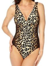 NWT MSRP $148 - MIRACLESUIT Sonatina Sin City, Leopard Print, Chocolate, Size 14