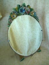 REAL Vintage  Multi Floral Flower BEVELLED Round Table free standing Mirror