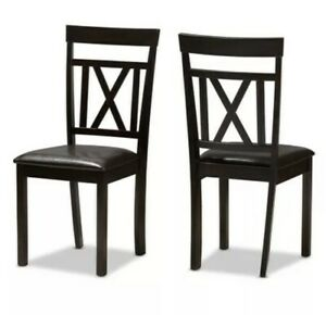 BAXTON STUDIO Modern Dark Brown Faux Leather Upholstered Dining Chair Set Of 2