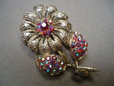 Vintage Super Sparkly Red Aurora Borealis Rhinestone Stem Flower Brooch Pin