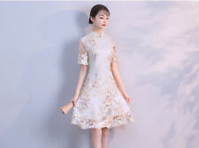Luxurious White Lace With Blossom Chinese Short Dress Cheongsam Qipao lcdress60