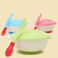 JP_ HN- Stylish Baby Toddler Suction Bowl with Temperature Spoon Lid Feeding T