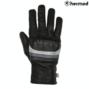 Helstons Mora Goat Leather Motorbike Motorcycle Gloves - Black/White/Grey
