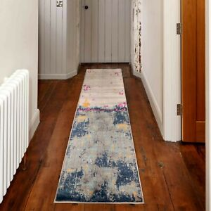 Navy Blue Hall Runner Rugs Distressed Abstract Contemporary Designer Look Carpet