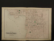 New York Long Island Map 1873 College Point, Flushing, Queens, 2 Maps N3#90