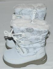 TOTES KIDS MATILDA COLD WEATHER BOOTS GIRL'S SZ 8 WHITE W/ SILVER SNOWFLAKES