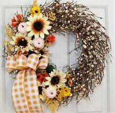 Thanksgiving Wreath Decor - Fall Sunflower & Berry Storm Door - FREE SHIPPING