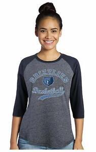 NBA Memphis Grizzlies Womens Premium Triblend 3/4 Sleeve, Navy, Size Medium