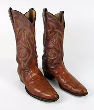 """Authentic Brown """" JUSTIN """" Men's 7.5 D Leather Western TEJU LIZARD Cowboy Boots"""