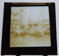 Port Said Egypt Quayside Boats Antique Glass Slide Magic Lantern  Photograph