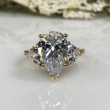 4.00 ct Pear Cut Diamond Sterling Yellow Silver Ring VVS1/D New Ring