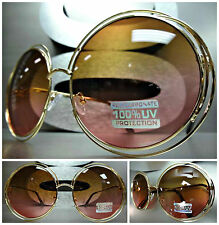 OVERSIZE EXAGGERATED VINTAGE RETRO Style Round Gold SUNGLASSES Brown & Pink Lens