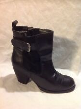 Tu Black Ankle Leather Boots Size 3