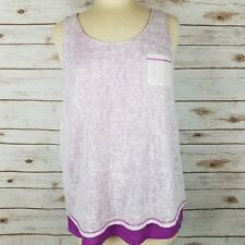 MNY Marc Andrew Performance New York White Purple Sheer Layered Tank Top Size L