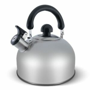 ELITRA Stainless Steel Whistling Kettle Tea Pot with Handle - 2.6 Qt/2.5L Satin