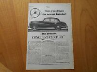 Vintage Daimler Conquest Century Advert -- Original -- from 1954