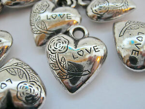 """5 Silver """"Love"""" Puffed Heart Charms 20mm (3/4"""") Valentines Day Heart Pendants"""