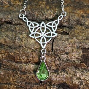 Silver Plated Triquetra Celtic Knot Necklace Tear Drop Green Crystal Pendant