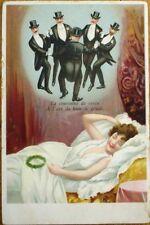 Risque 1910 Postcard: Sleeping Woman Dreaming of Men - Color Litho