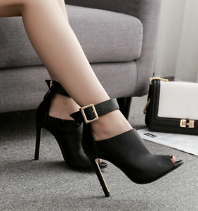 Womens Roman Punk Ankle Peep Toe Boots High Stiletto Heel Buckle Sexy Party Shoe