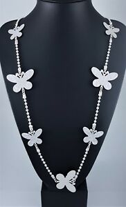 """Matt Silver Hammered Butterfly Charms Ball Chain Long Lagenlook Necklace 42"""""""