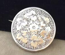 Vintage Jewellery Antique Victorian Sterling Silver Flower Engraved Brooch