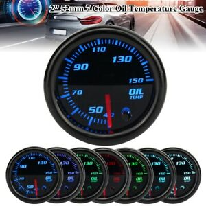 2'' 52mm Pointer Oil Temp Gauge Led Car Temperature Meter 1/8 Npt Sensor 7 Color