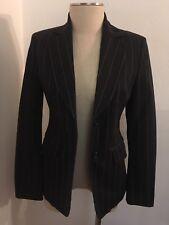 Vintage Benetton Black Pin Stripe Fitted Blazer Italy Femme Mafia Boss Jacket 2