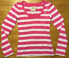 Hollister Women's Pink & White Striped Long Sleeve Scoop Neck Shirt - Size: XS