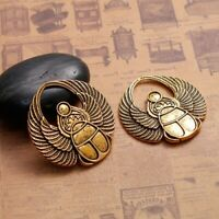 2Pcs Antique Gold Scarab Pendants Cabochon Settings Jewelry Craft Accessories