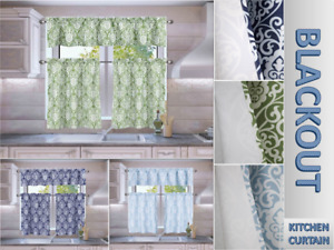 3PC SINA LINED BLACKOUT ROD POCKET PRINTED DESIGN WINDOW KITCHEN CURTAIN SET
