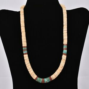 Vintage HEISHI Shell NECKLACE Pipestone TURQUOISE Disc BEADS Choker STERLING