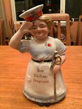 """Original Wwi German Ceramic Female """"Pastry Dragoon"""" in Military Cap and Saber"""