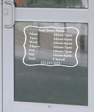 """Custom Retail Business Store Hours Decal Vinyl Lettering Sign 13.5""""h x 18""""w"""