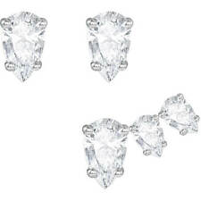 Swarovski Attract Pear Pierced Earring Set, White, Rhodium Plated - 5274076