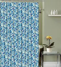 Blue Flowers Fabric Shower Curtain: Primitive Small Floral Design