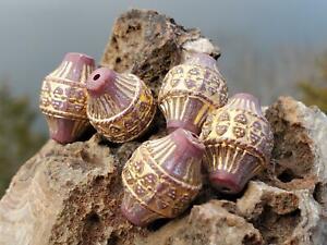 20 Vintage German Artsy Ornate Gold Terracotta Blush Acrylic Beads DIY Jewelry