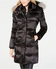 New Andrew Marc Women Puffer Coat Black Knee Length Hooded Real Fur Down Sz L